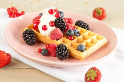 Waffles with red fruits 1024x683
